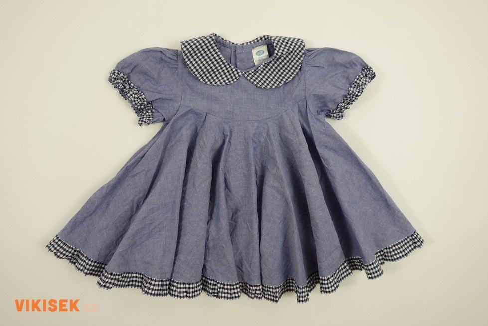 3ab0d246bb6f Modré riflové šaty s límečkem